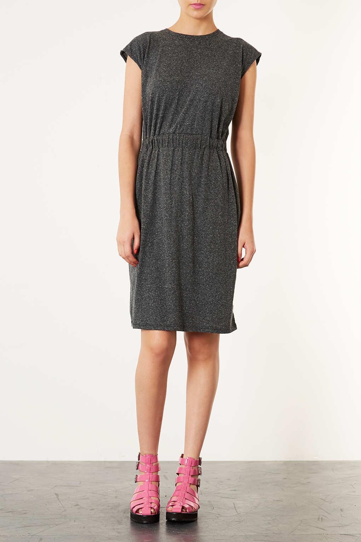Lyst Topshop Elastic Waist Midi Dress In Gray