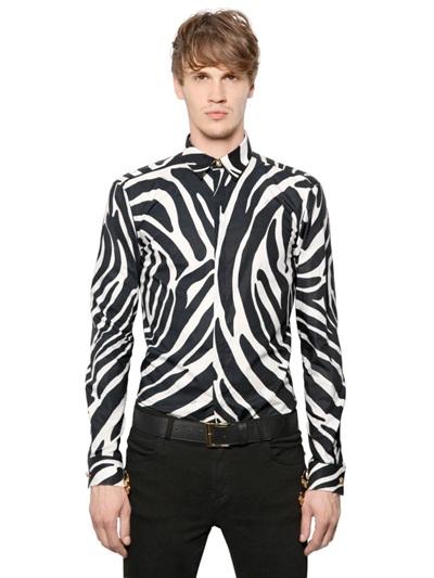 63e35f4b Versus Zebra Print Poplin Cotton Shirt in Black for Men - Lyst