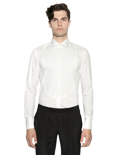 Z zegna slim fit plastron poplin tuxedo shirt in white for for Extra slim tuxedo shirt