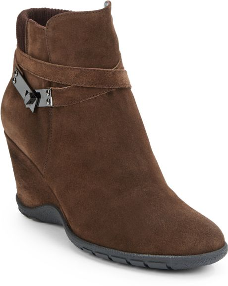 aquatalia by marvin k suede wedge ankle boots in brown