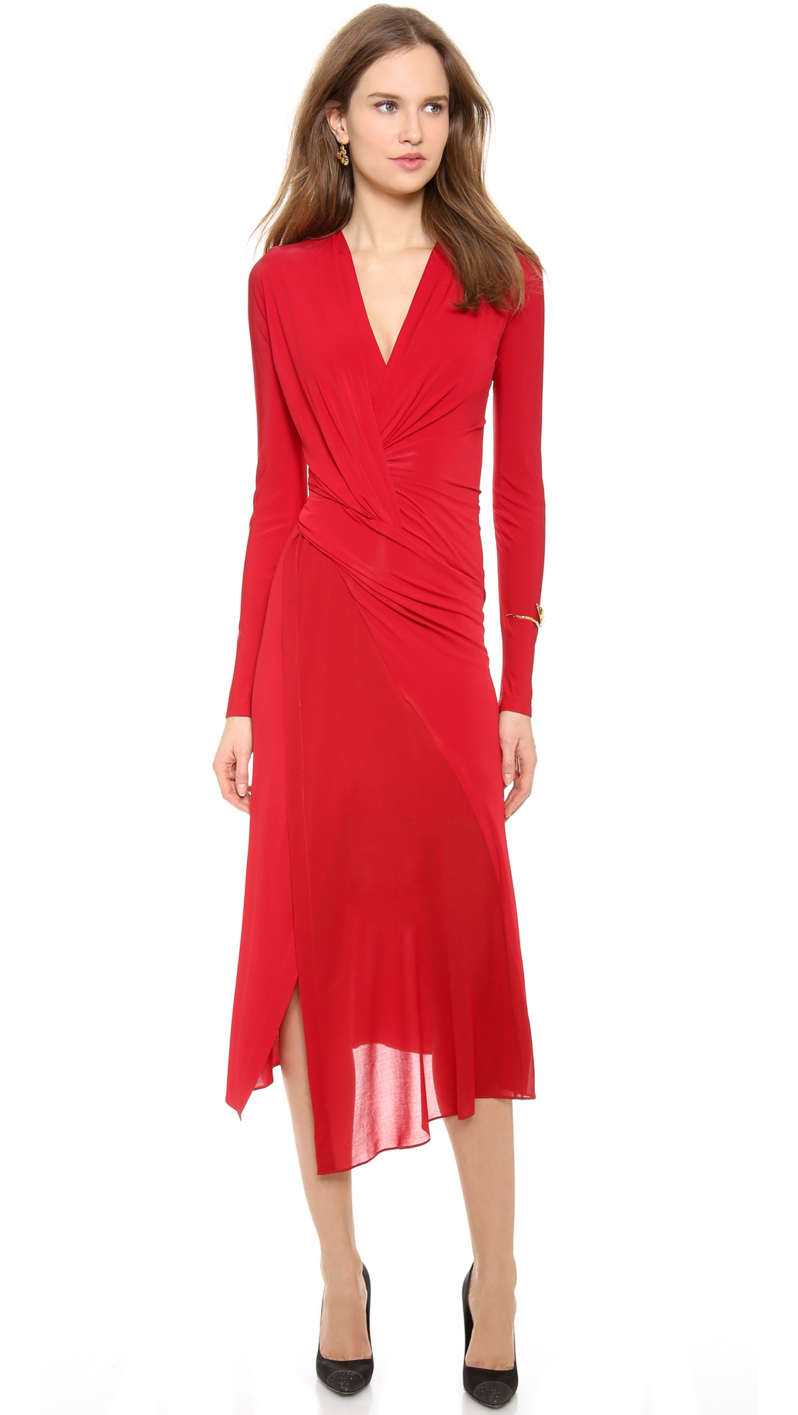 donna karan new york plunge v twist dress in red scarlet lyst. Black Bedroom Furniture Sets. Home Design Ideas