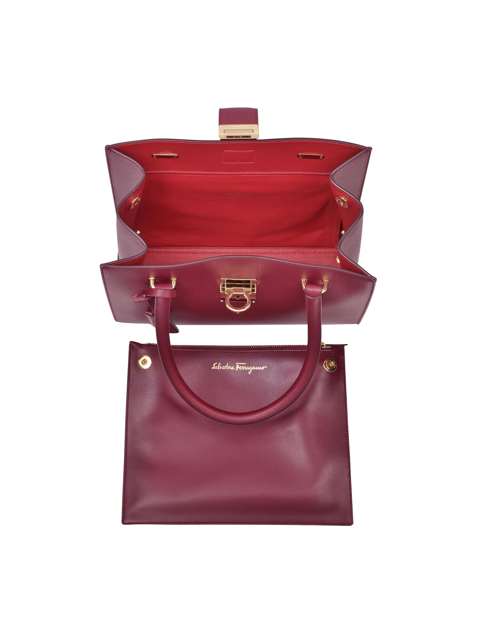 Lyst - Ferragamo Juliette Burgundy Leather Tote in Red e2570ee3a402f