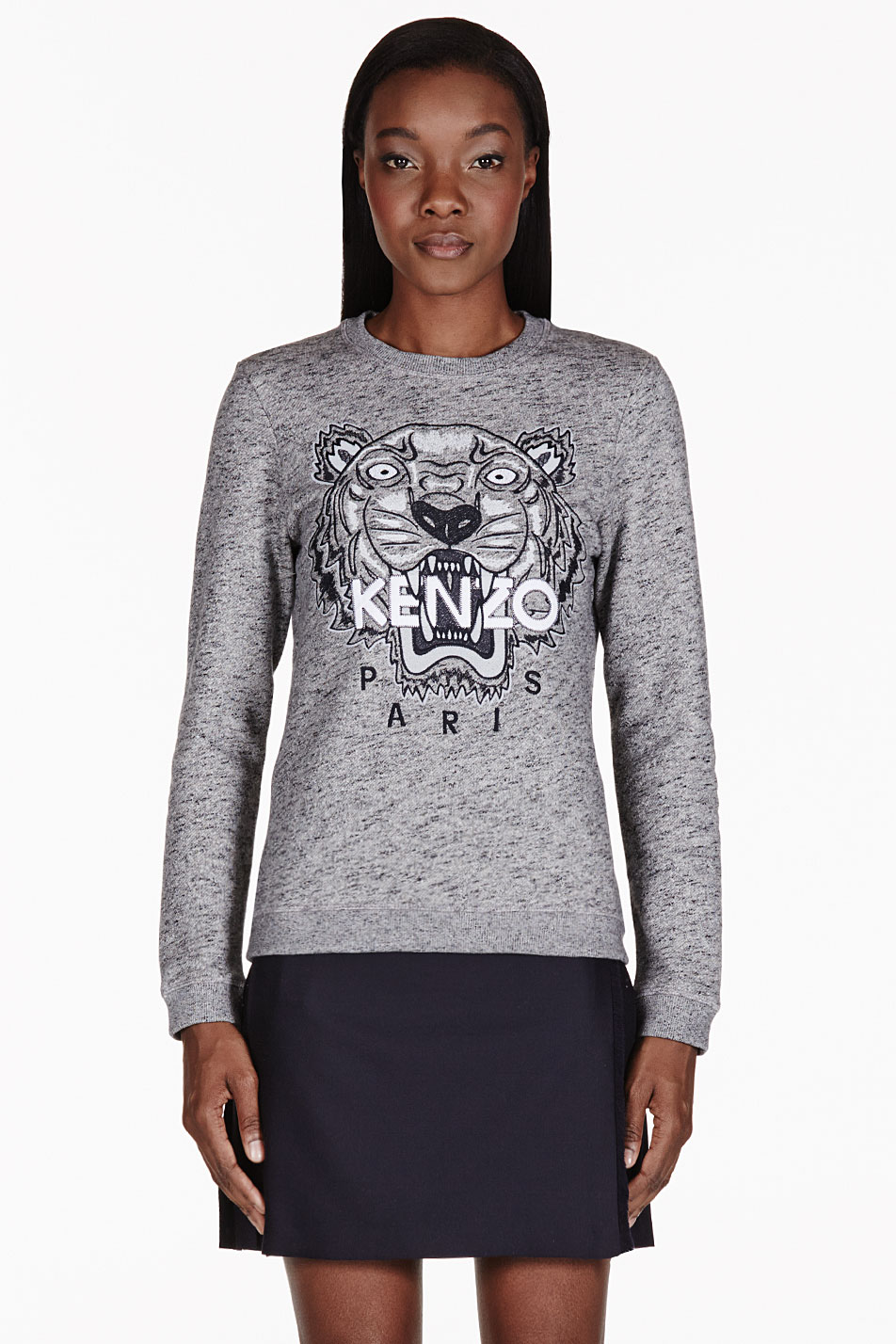 53691b22 KENZO Grey Melange Embroidered Tiger Sweater in Gray - Lyst
