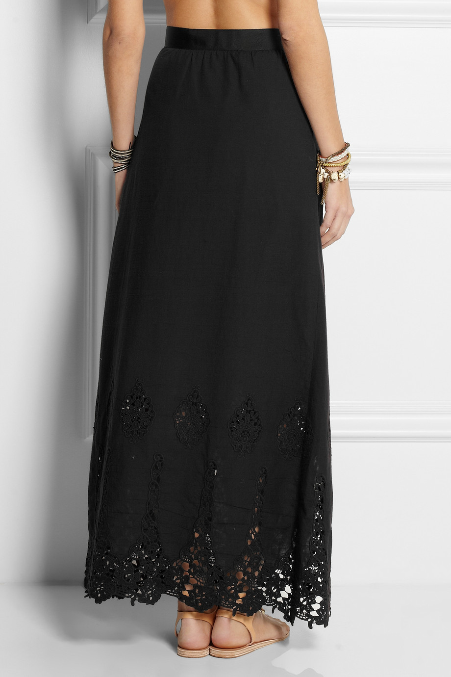 Miguelina Celine Broderie Anglaise Cotton Maxi Skirt in Black | Lyst