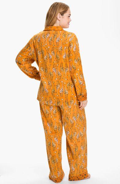Munki Munki Print Flannel Pajamas In Orange Orange