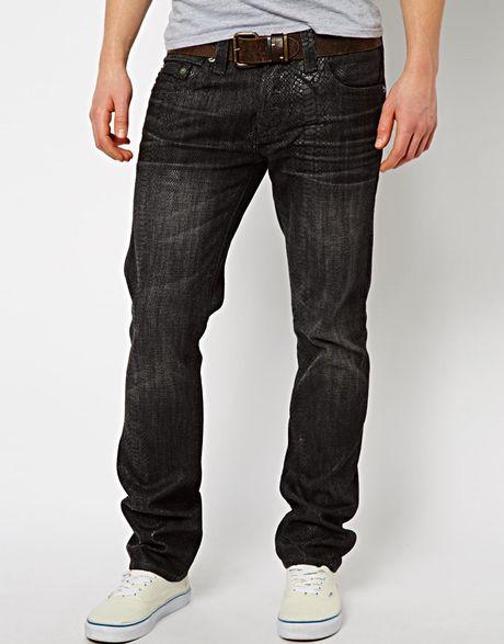True Religion Jeans Rocco Slim Fit Snake Skin Effect in ...
