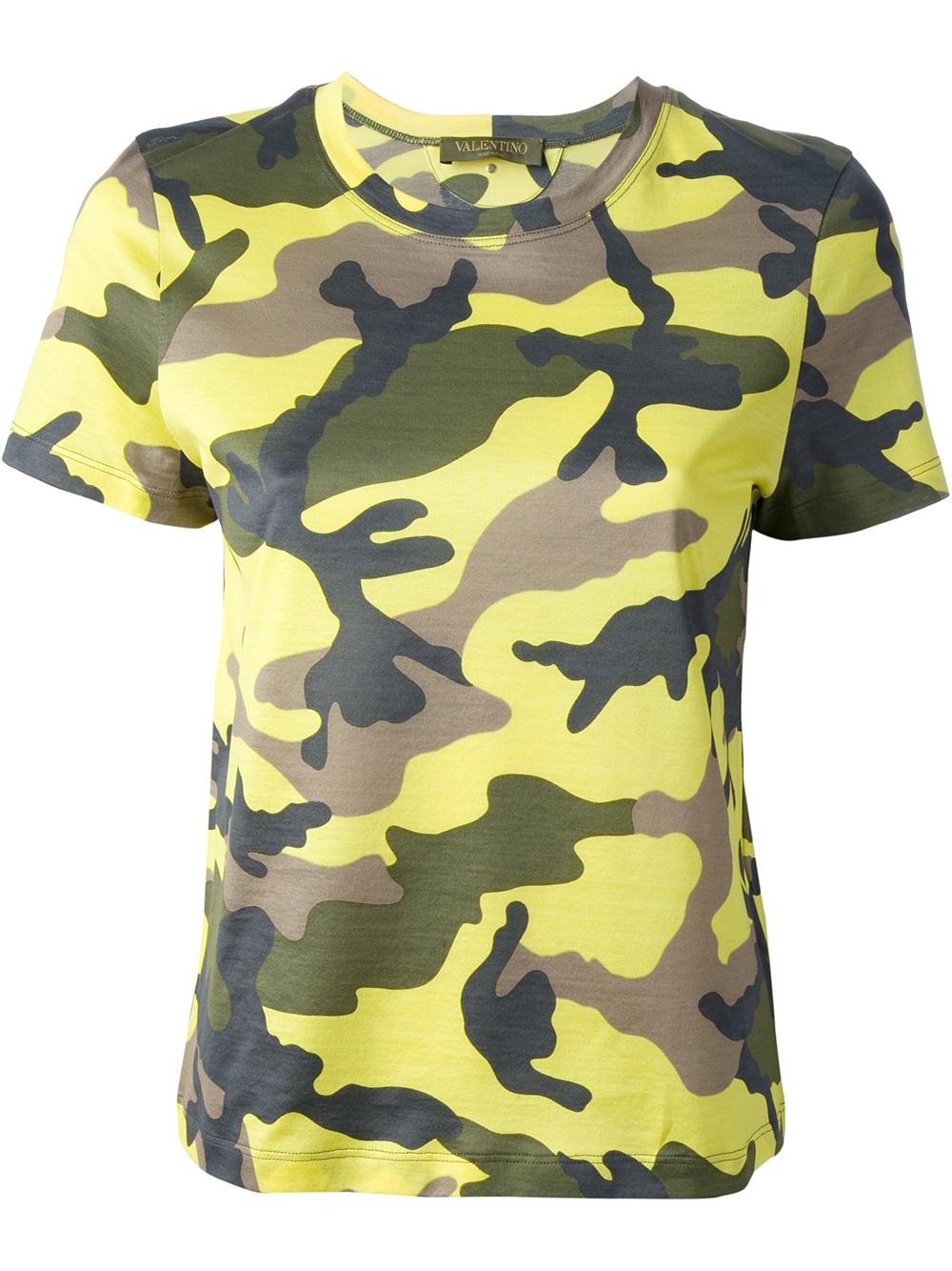 camouflage T-shirt - Yellow & Orange Valentino Buy Cheap Prices Popular w1fLa7Sd
