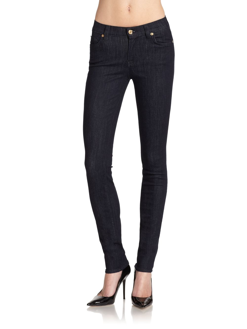 7 for all mankind mid rise roxanne skinny jeans in black. Black Bedroom Furniture Sets. Home Design Ideas
