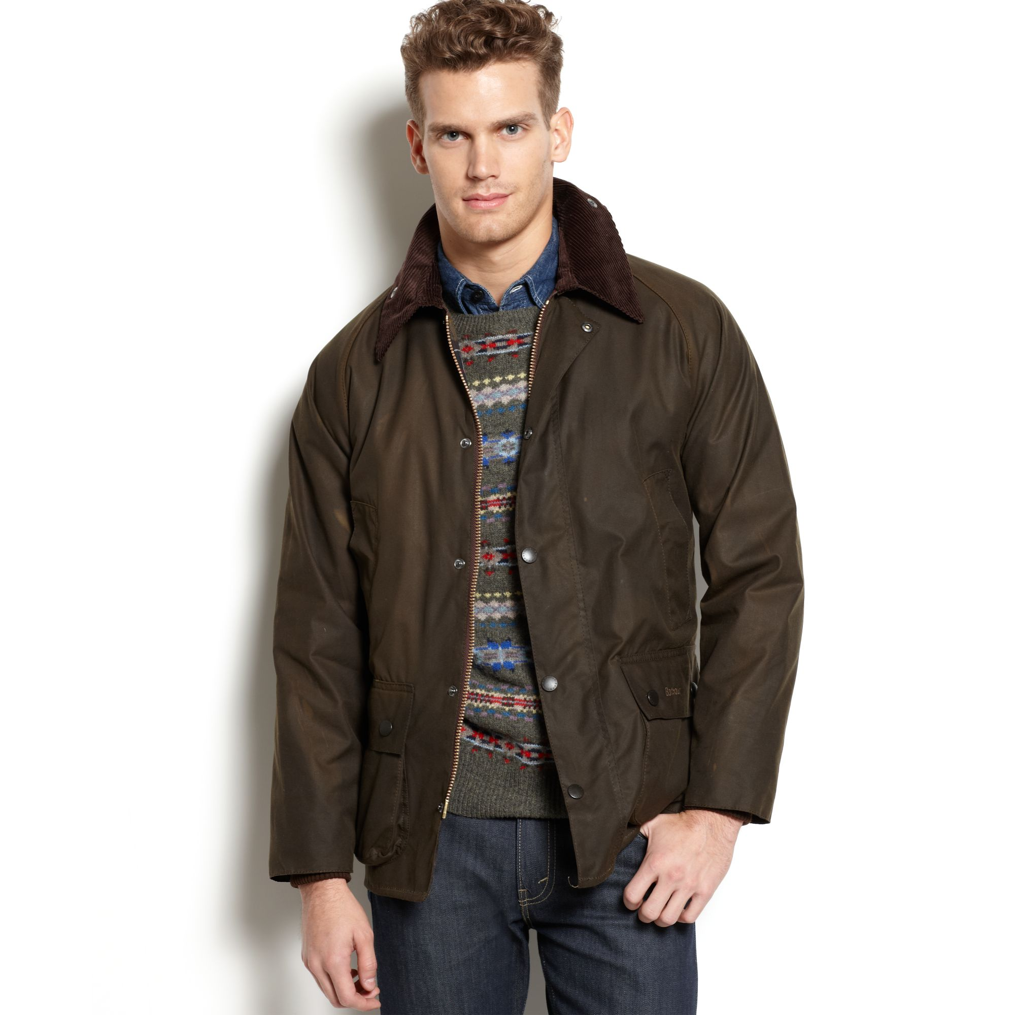barbour classic bedale waxed jacket in green for men olive lyst