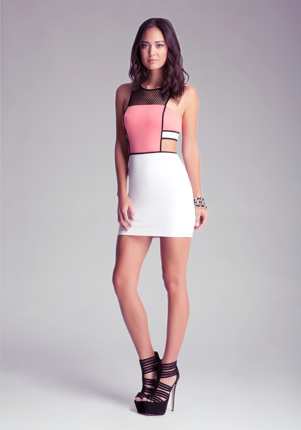 Bebe Sporty Mesh Side Cutout Dress In Coral Red Lyst
