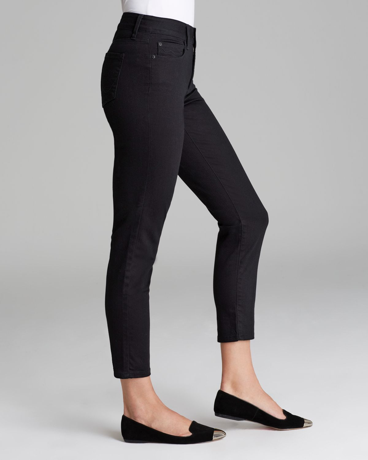 Nydj Alisha Fitted Ankle Jeans In Black in Black | Lyst