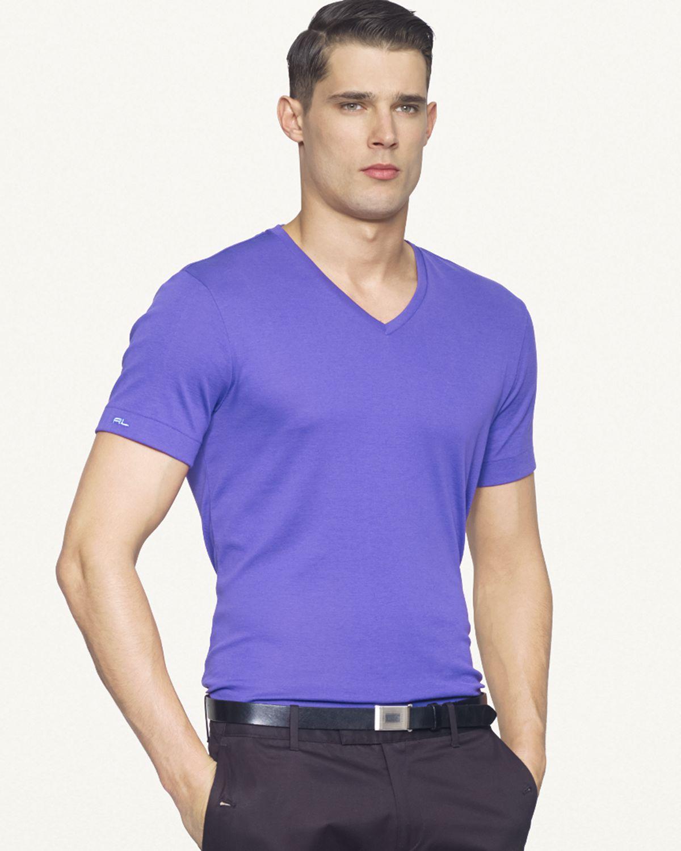 Ralph lauren black label denim shortsleeved vneck tshirt for Bright purple t shirt