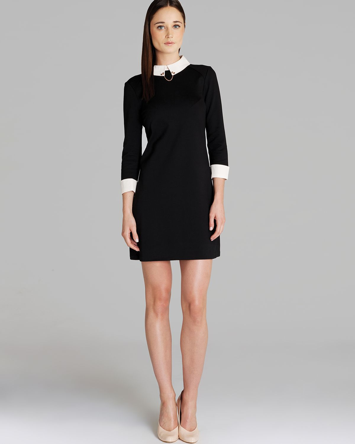ted baker dress wubty contrast collar in black lyst. Black Bedroom Furniture Sets. Home Design Ideas
