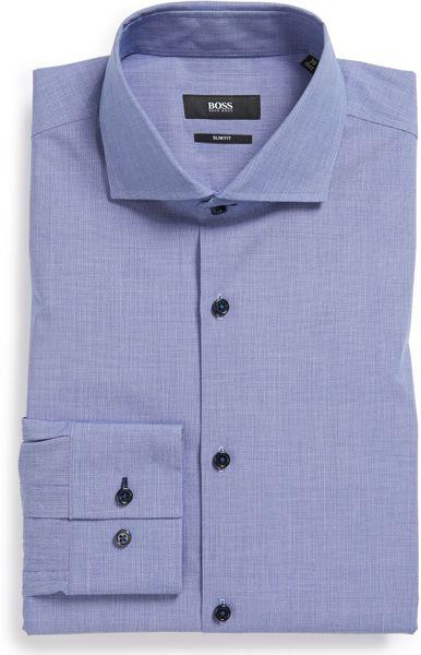Boss by hugo boss jaser slim fit dress shirt in blue for for Hugo boss slim fit dress shirt