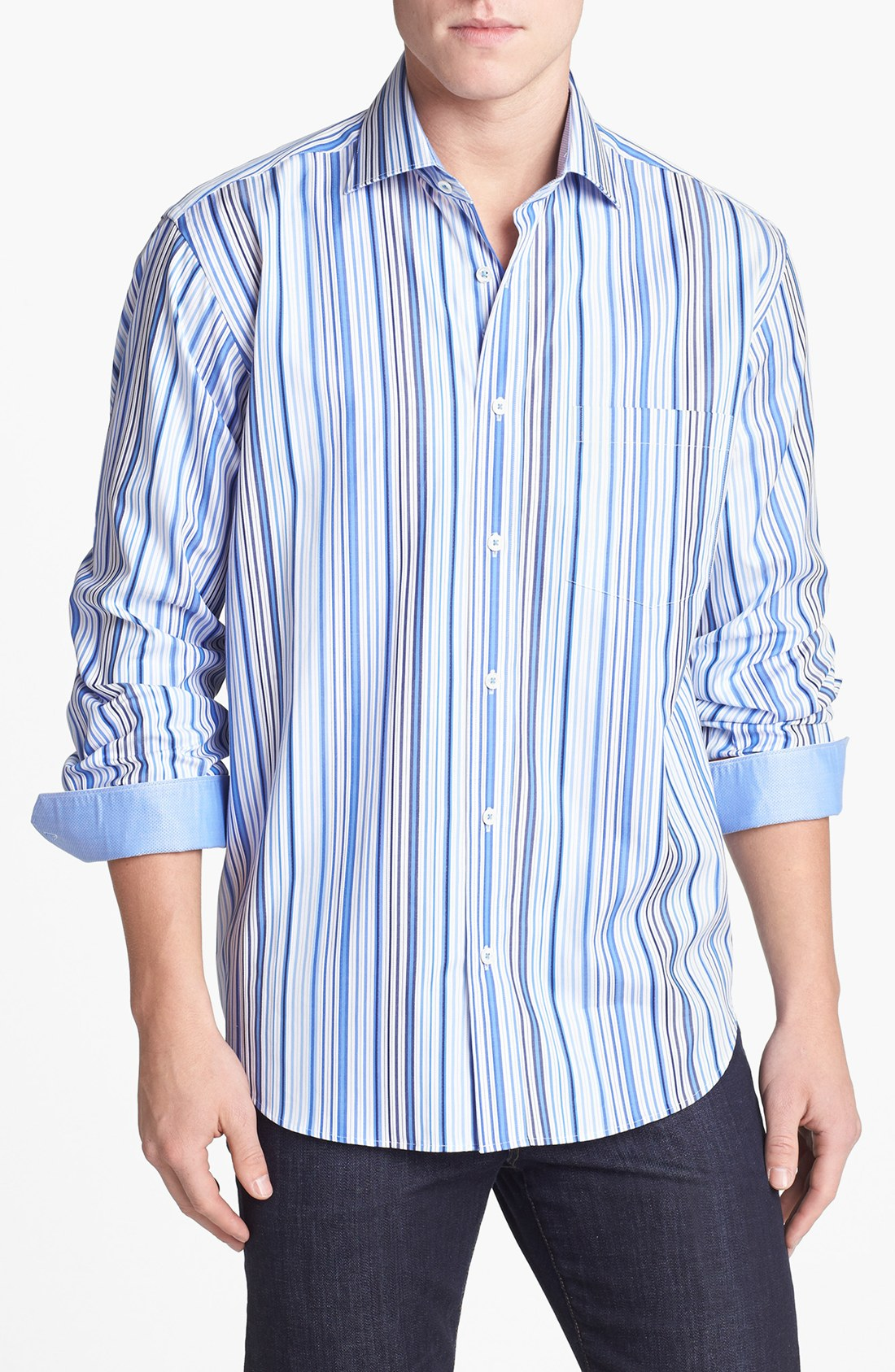Bugatchi classic fit stripe sport shirt in blue for men for What is a sport shirt
