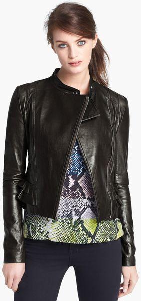 Diane Von Furstenberg Heaven Crop Leather Jacket in Black - Lyst