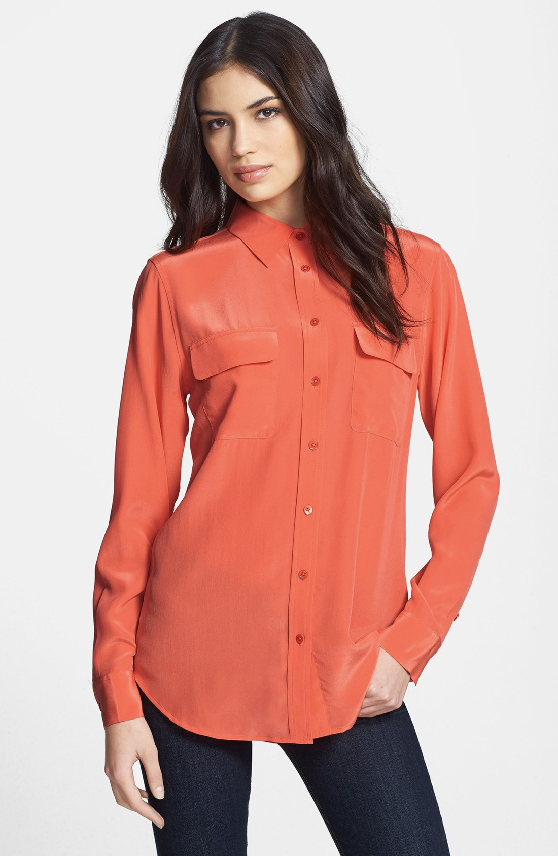 Equipment slim signature silk shirt in orange bright for Equipment signature silk shirt