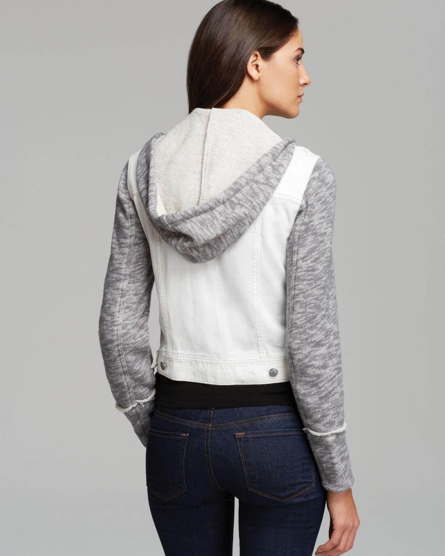 Free People Knit Hooded Denim Jacket