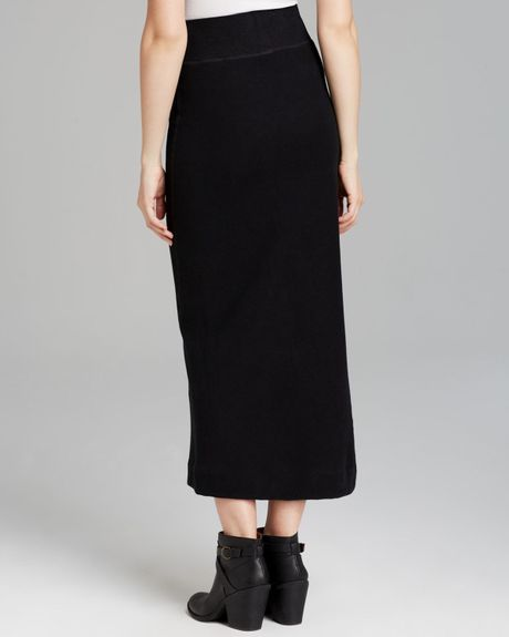 maxi skirt fleece twisted seam in black lyst