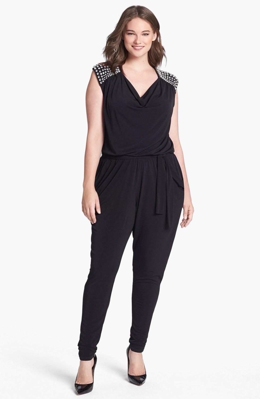 michael michael kors embellished cowl neck jumpsuit in black lyst. Black Bedroom Furniture Sets. Home Design Ideas