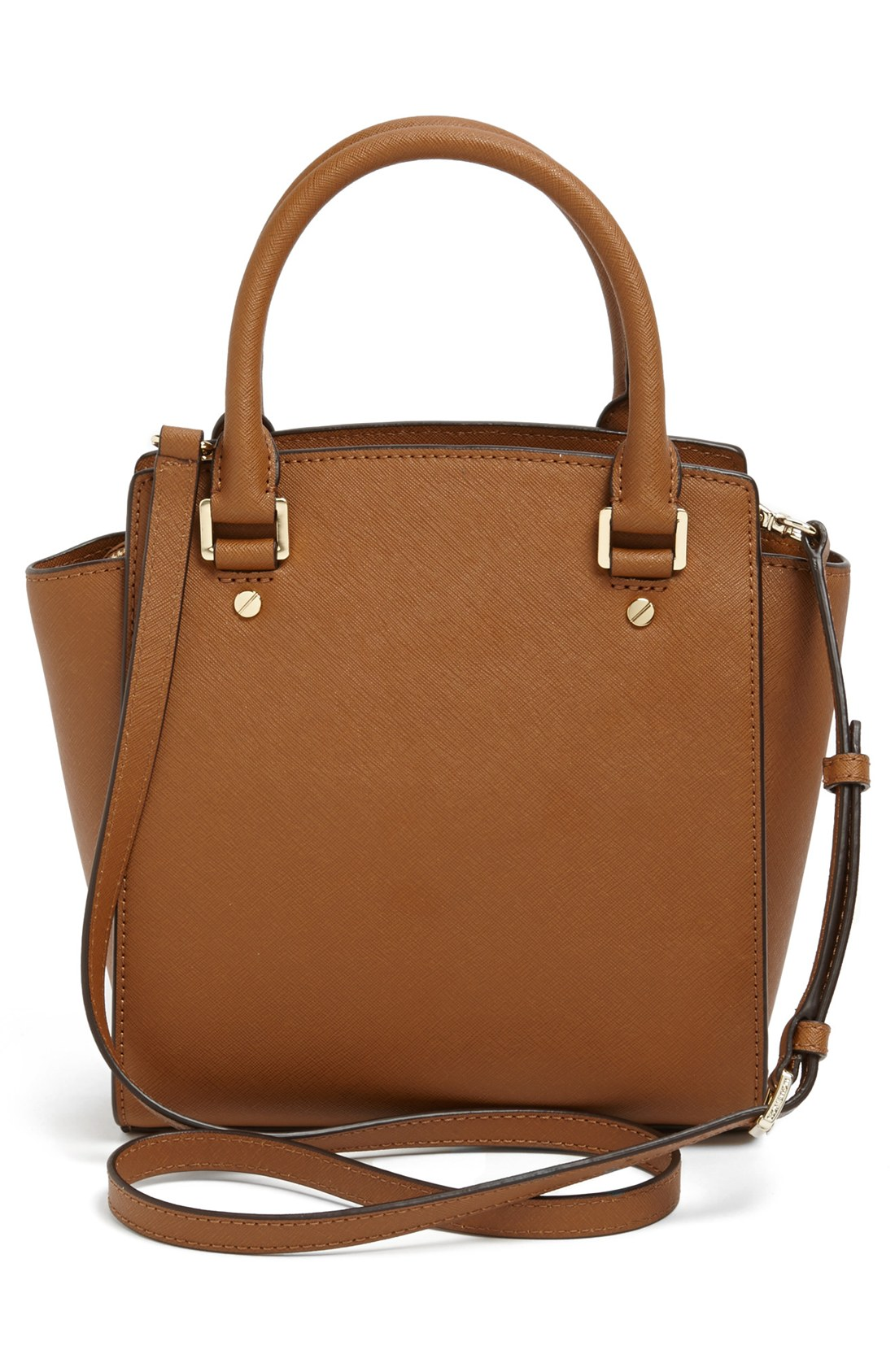 michael michael kors selma leather crossbody bag in brown luggage lyst. Black Bedroom Furniture Sets. Home Design Ideas