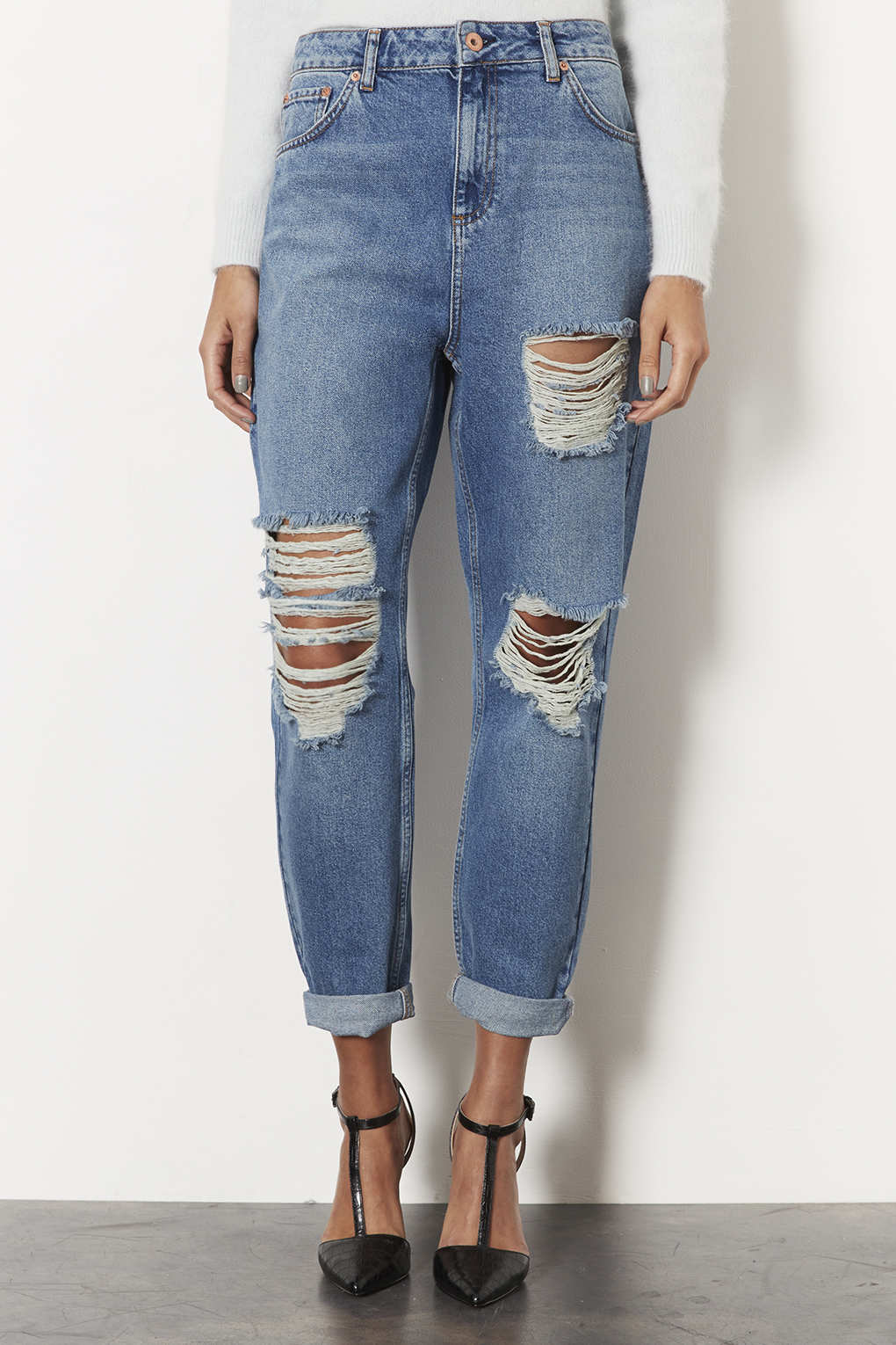 Lyst topshop moto boyfriend jeans in blue for Womens denim shirts topshop