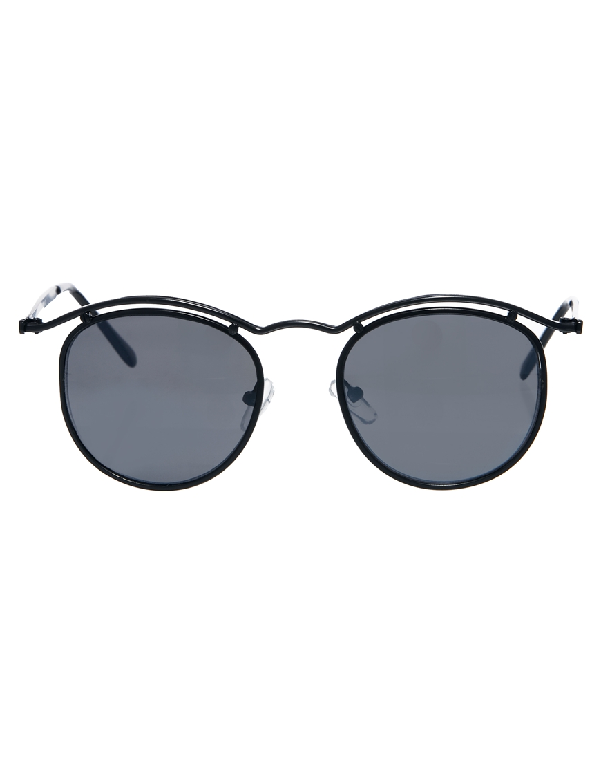 c6b455bd6 ASOS Round Sunglasses with Curve Brow Bar in Black for Men - Lyst