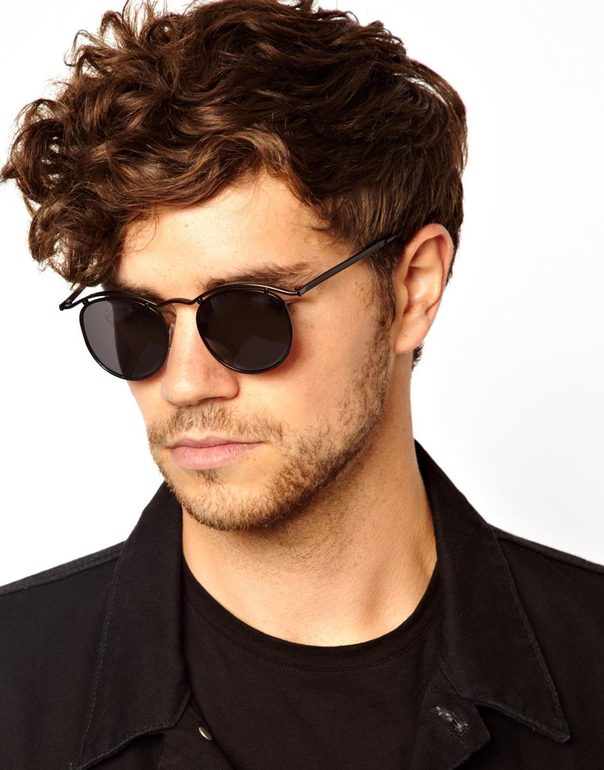 fc21fe14e79 Lyst asos round sunglasses with curve brow bar in black for men jpg  870x1110 Black male