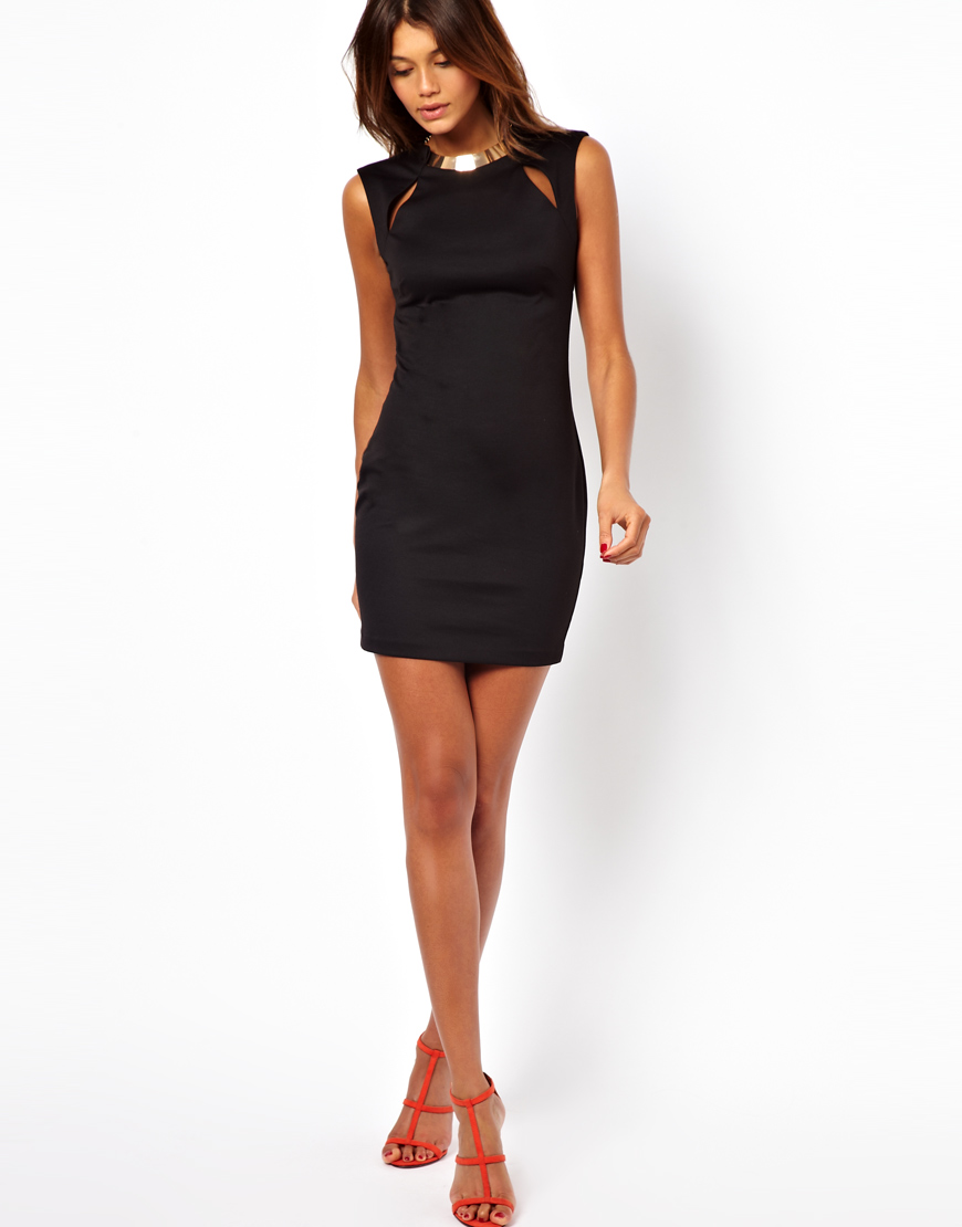 Lyst Asos Bodycon Dress With Gold Necklace In Black