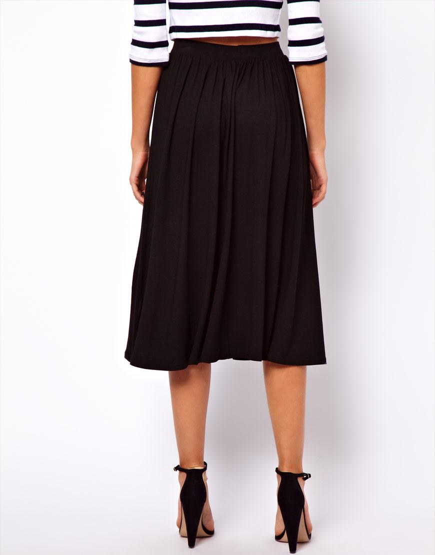 asos midi skirt in black lyst