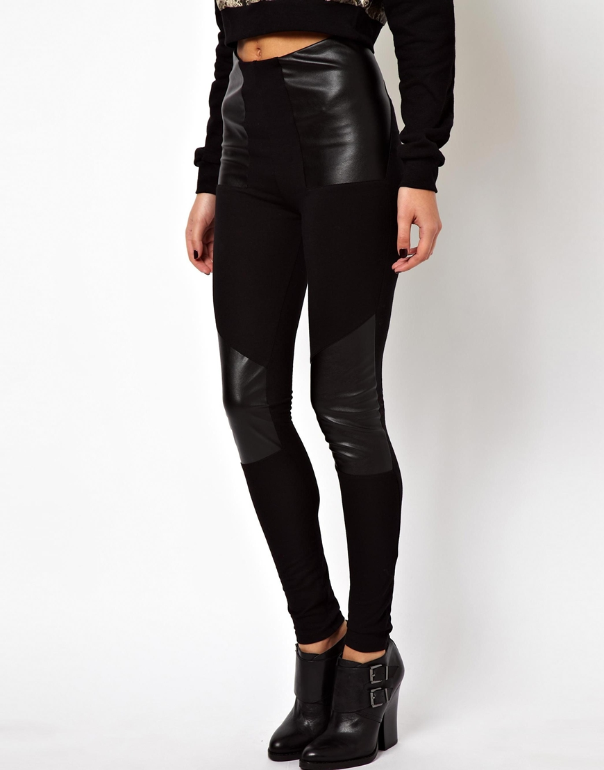 Asos Leggings In High Waist With Leather Look Panel in Black | Lyst