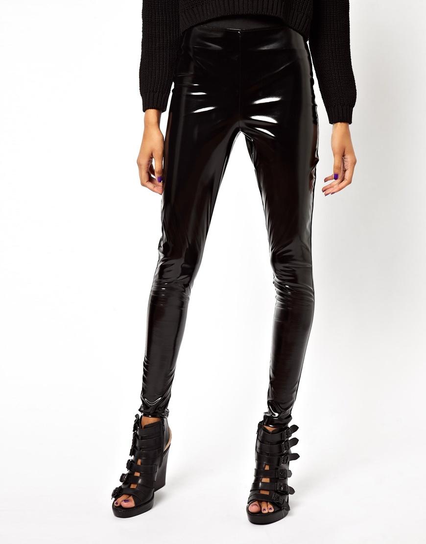 b5e5435c7b7545 ASOS Tube Trousers in High Waist Pvc in Black - Lyst