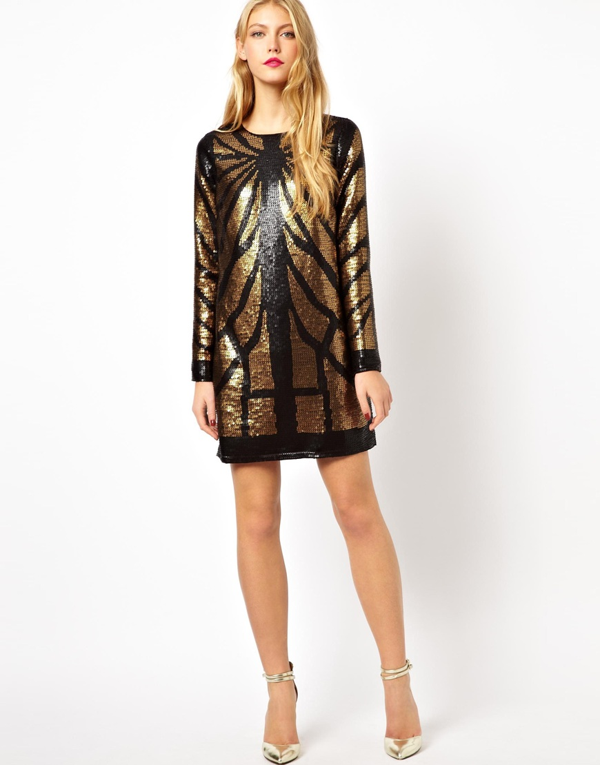 Asos Animal Sequin Long Sleeve Mini Dress in Black - Lyst