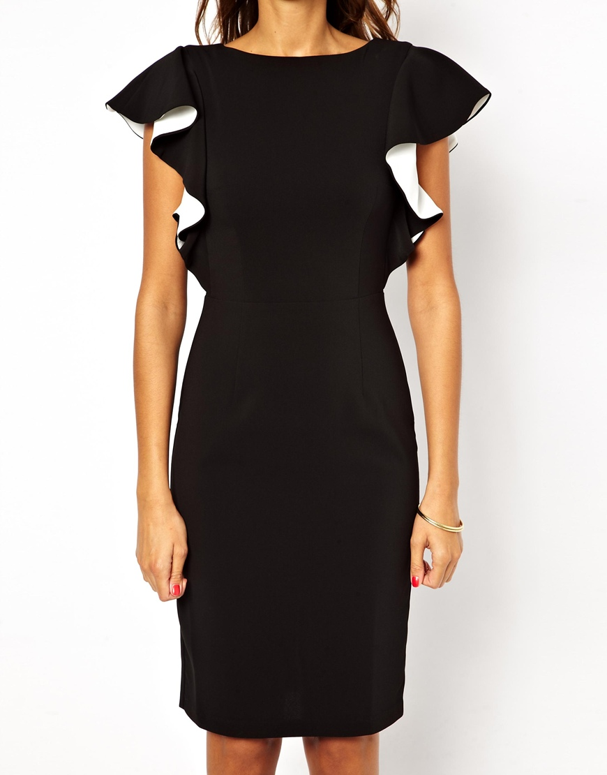 Lyst Asos Pencil Dress With Ruffle Sleeve In Black