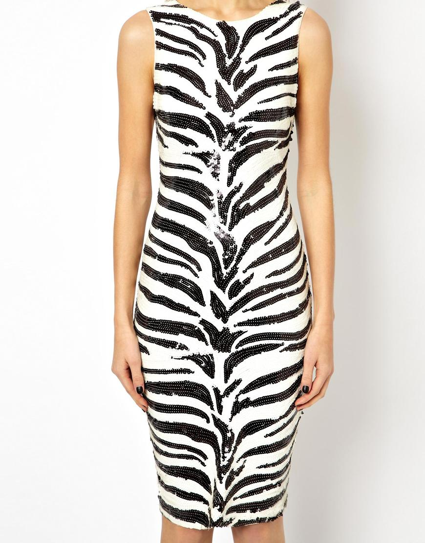 Asos Exclusive Bodycon Dress in Sequin Zebra Print in Black - Lyst
