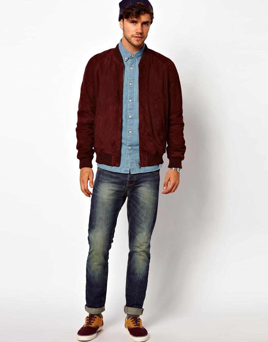 Burgundy suede jacket mens