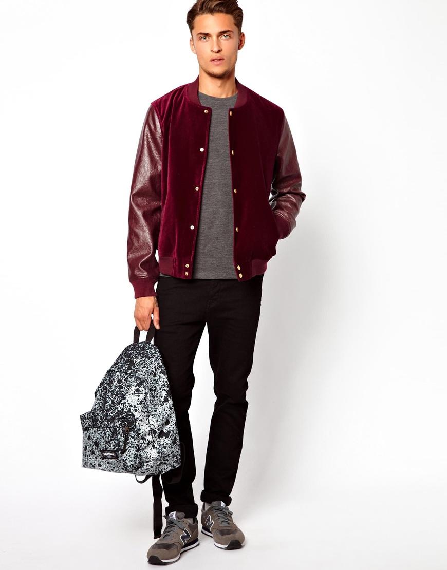 asos velvet bomber jacket in purple for men | lyst