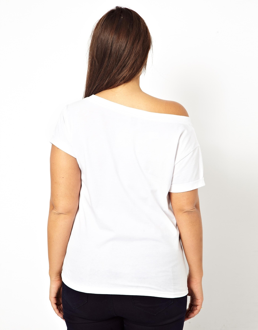 Asos Exclusive Off Shoulder T-shirt in White