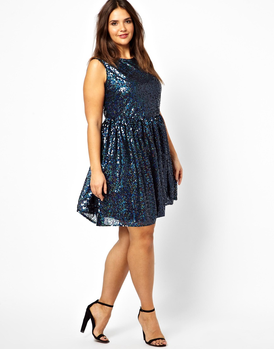 asos curve smock dress in holographic sequin in blue navy. Black Bedroom Furniture Sets. Home Design Ideas