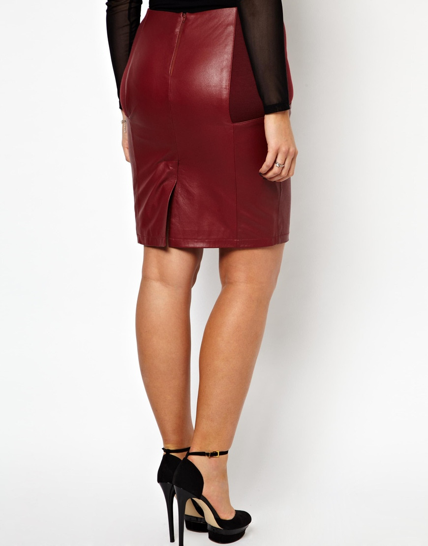Asos Exclusive Pencil Skirt in Leather in Red | Lyst