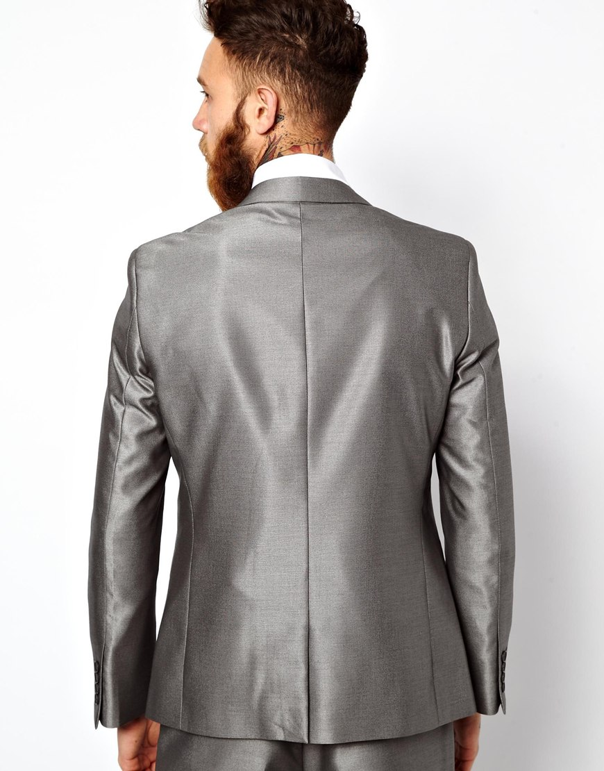 Asos Slim Fit Suit Jacket In Silver in Gray for Men | Lyst