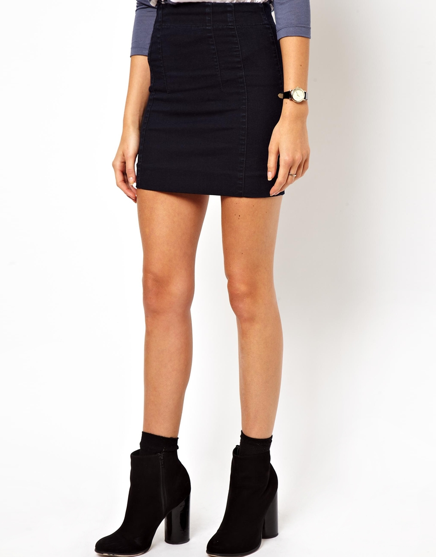 micro denim mini skirt