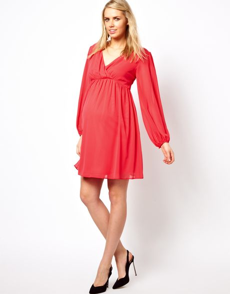 Asos Maternity Wrap Dress With Blouson Sleeve And Lace