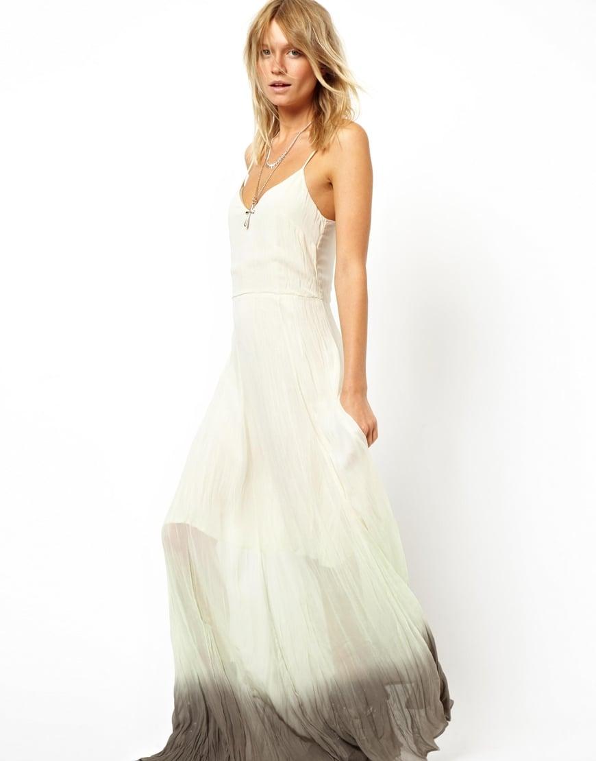 Asos Maxi Dress in Dip Dye in White  Lyst