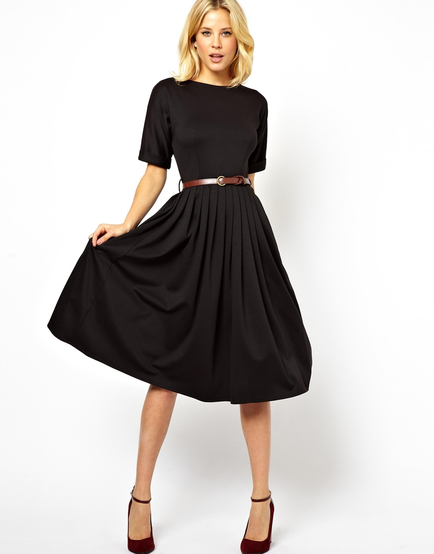 Asos Midi Skater Dress With Half Sleeve In Blue Lyst