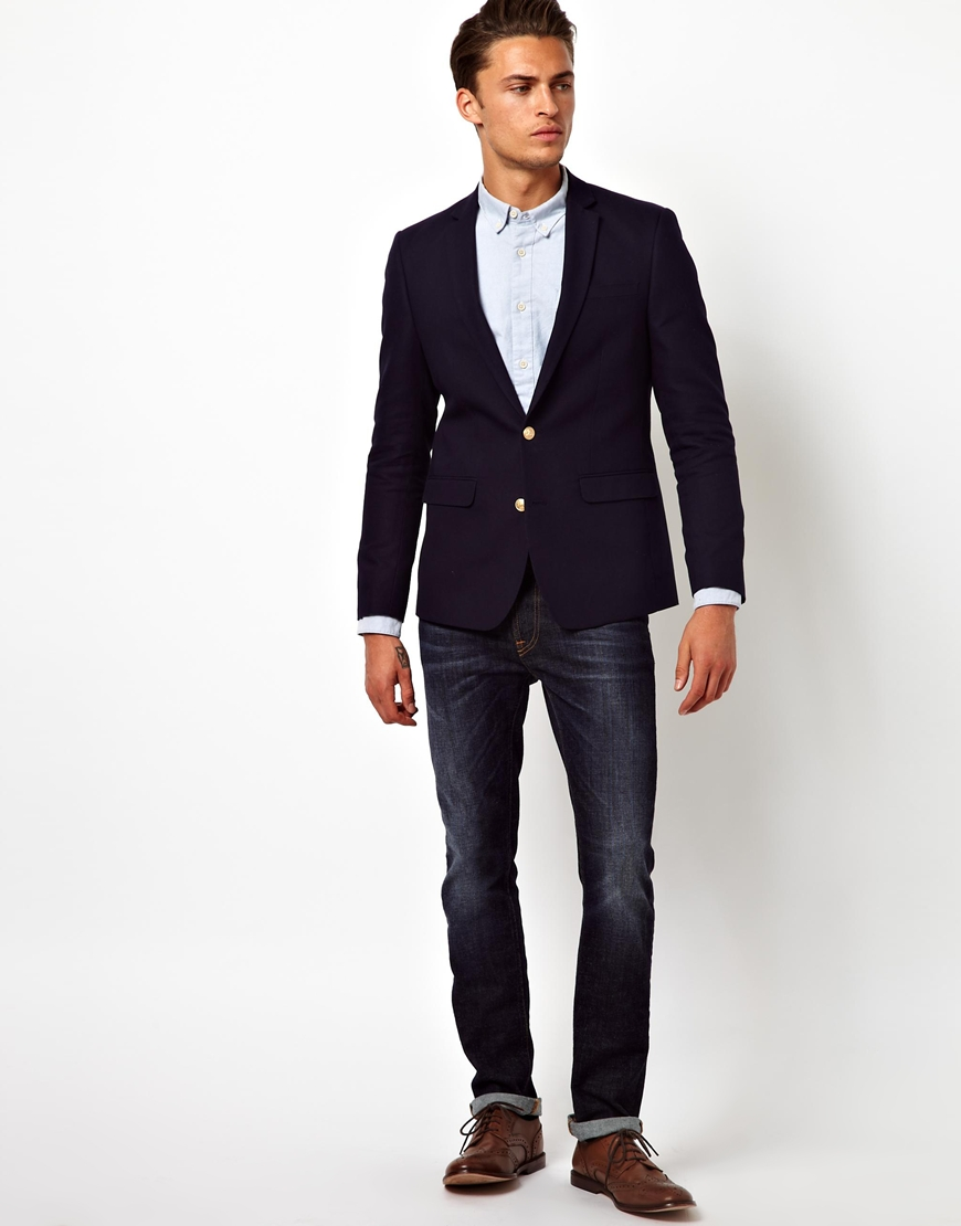 Lyst Asos Slim Fit Blazer With Gold Buttons In Black For Men