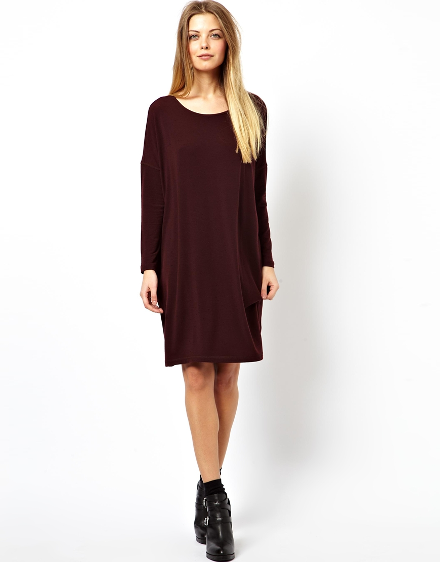 Lyst asos t shirt dress in nepi with long sleeve in purple Women s long sleeve shirt dress