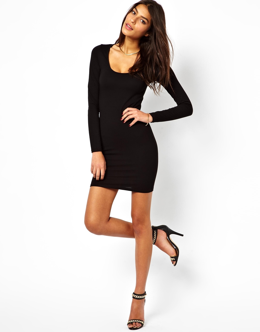 8923f793dec ASOS Mini Bodycon Dress With Long Sleeves in Black - Lyst