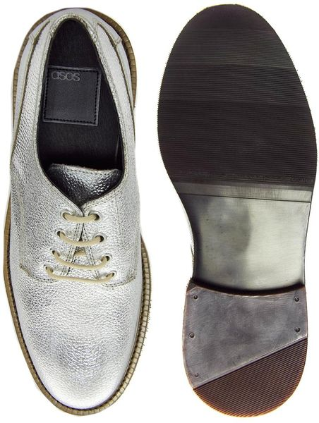 asos derby shoes in leather in silver for lyst