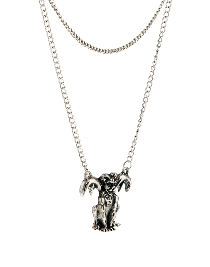 Lyst asos double necklace with gargoyle in metallic for men gallery aloadofball Gallery